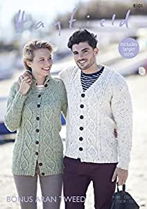 c3eb1c90cb4c Image Unavailable. Image not available for. Colour  Sirdar 8101 Knitting  Pattern Womens Mens Cardigans in Hayfield Bonus Aran Tweed