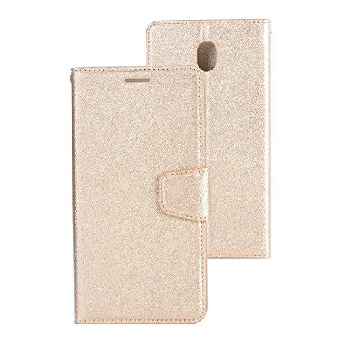 JIALUN- case Für Samsung Galaxy J5 (2017) (EU-Version) Silk Texture Horizontal Flip Ledertasche mit Halter & Kartensteckplätze & Brieftasche & Bilderrahmen Beau et Pratique (Farbe : Gold)