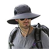 Ala Ancha. Fischer Sombreros Busch sombrero–Protección Solar UPF 50+ sombrero–Unisex Adultos Cubo Sombreros Cap con kinnband Pesca Sombreros Para Outdoor Senderismo, gris oscuro