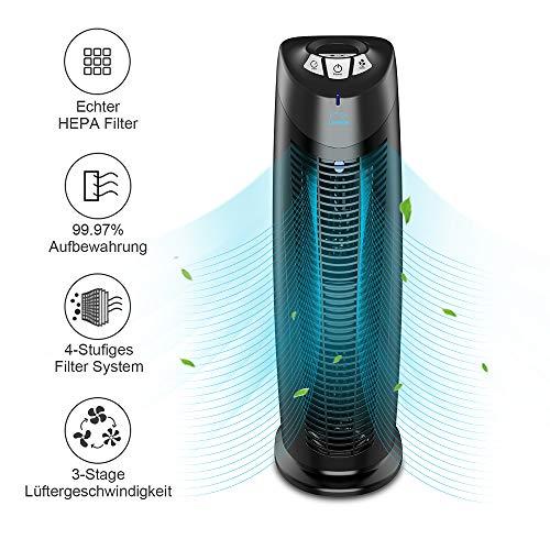 Luftreiniger Ionisator - Air Purifier UV Negatives Ion Kohlefilter HEPA 4 Stufen Filter Ruhig Filterung für Allergie LED Anzeige für Allergiker und Raucher