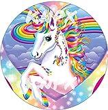 18cm arco iris unicornio NO PERSONALIZADO Pony redondo comestible pastel comestible Topper