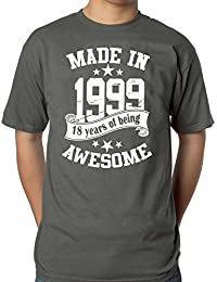 Mens 18th Birthday Grey T-shirt - Made In 1999 - 18 Years Of Being Awesome Gift T-shirt