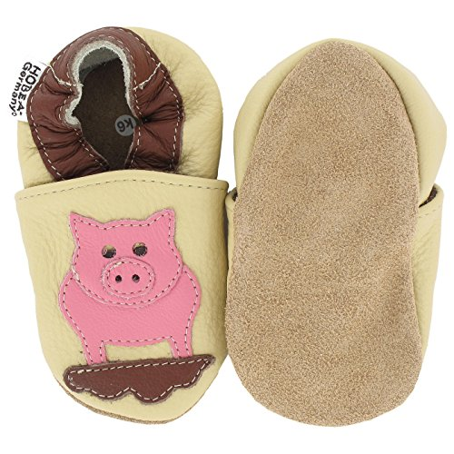 HOBEA-Germany  Krabbelschuhe Schwein hell, Chaussons pour enfant mixte bébé ivoire (sand)