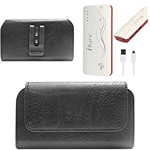 DMG Premium PU Leather Cell Phone Pouch Carrying Case with Belt Clip Holster for Gionee Pioneer P6 (Black) + 10000 mAh Power Bank