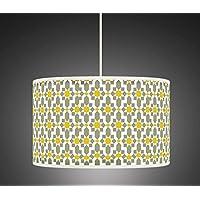 Amazon large and pendant lamp shades lamps lighting 50cm yellow mustard grey retro geometric handmade giclee style printed fabric lamp drum lampshade floor or aloadofball Choice Image