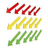 15 bunte Magnetpfeile (5 grüne Magnetpfeile / 5 gelbe Magnetpfeile / 5 rote Magnetpfeile) / 6 cm lang / z.B. für Sachverständige, Präsentationen, Projektarbeit, Unterricht..