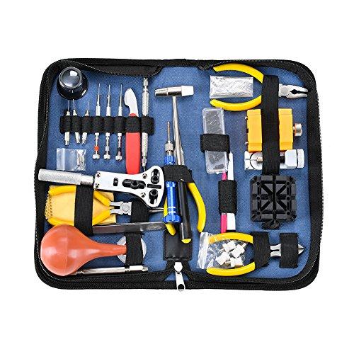 Kit de herramientas de reparación de relojes de lujo - Herramientas de reloj ajustables de banda de enlace pines abrebotellas barra de resorte Herramienta Set (141PCS)