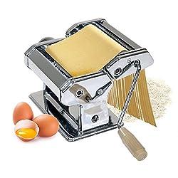 Oramics Nudelmaschine Pastamaschine aus Edelstahl für Spaghetti, Pasta und Lasagneplatten