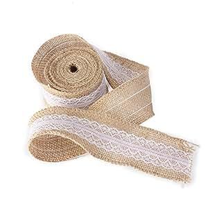PIXNOR Nastro del pizzo di iuta della tela da imballaggio della tela di iuta per artigianato Casa Wedding Decor - 5m * 5cm