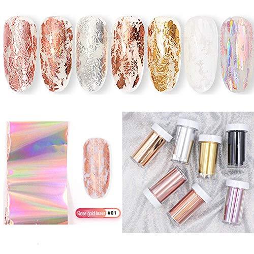 NICOLE DIARY laser Nail Foil Transfer Sticker Oro rosa Cielo stellato Decalcomanie per unghie Pezzi di vetro Consigli per la nail della carta Artigli brillanti adesivi per unghie (7 scatole)