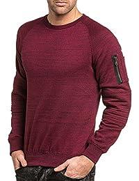 BLZ jeans - Sweat homme bordeau chiné poche effet bomber