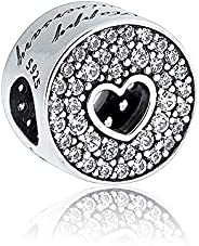 Biggold Fit Pandora Bracelet Happy Anniversary Charm S925 Clear CZ Love Heart Beads for Women Bracelet&Nec