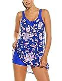 HOTOUCH Damen Bademode Mehrfarbig Two Piece Punktmuster Streifen Tankini Mit Hotpants, blau/Blume, Gr. XXL