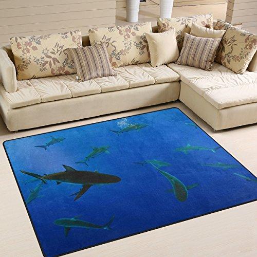 yibaihe Große Fläche Teppiche Sharks in blau ocean Gedruckt, leicht rutschfeste antistatisch wasserabweisend Boden Teppich für Wohnzimmer Schlafzimmer Home Deck, 160x 122cm - Blaue Shag Teppich