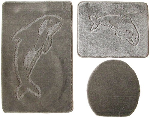 Delfin Badgarnitur 3 tlg. Set 55x85 cm Silber WC Vorleger ohne Ausschnitt geprüft nach OEKO-TEX Standard 100
