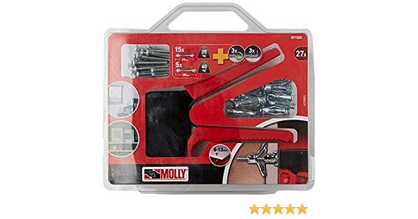 Molly M71925-XJ m71925 Kit de 20 Chevilles de fixation Pince de pose 10 Chevilles 4 x 33mm et 10 Chevilles 5 x 36mm Set de 27 pi/èces Gris