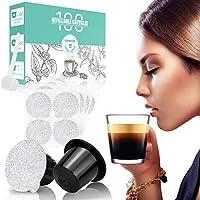 CAPMESSO Reusable Refillable Nespresso Capsules Coffee Pods Filters for Nespresso Original Line Machines and Self Adhesive Aluminum Foil Lids (100 Pods+100 Lids)