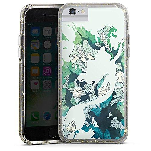 Apple iPhone 7 Plus Bumper Hülle Bumper Case Schutzhülle Arielle Meerjungfrau Disney Bumper Case Glitzer gold