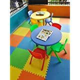 Intra Kids Table School Study Table - No Chairs (Small Round, Red)