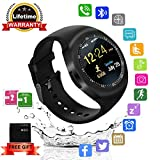 Bluetooth Smartwatch, Wasserdicht Smart Watch Rund mit SIM Kartenslot Whatsapp Touchscreen, Intelligente Armbanduhr Sport Fitness Tracker Armband fur Android iphone ios Samsung Sony Huawei Damen Herren (Schwarz)