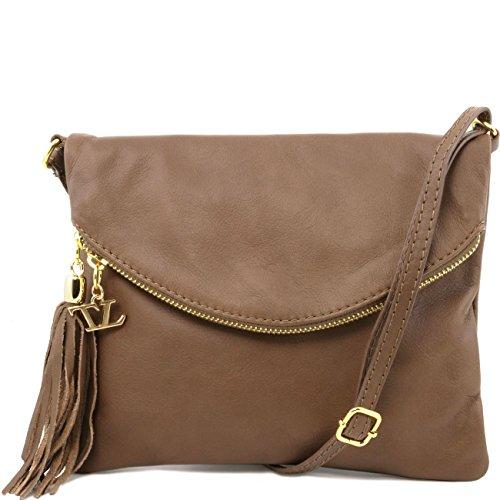Tuscany Leather TL Young Bag - Borsa a tracolla con nappa Nero Borse donna a tracolla Talpa scuro
