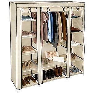 TecTake Kleiderschrank Stoffschrank Garderobe Faltschrank mit Kleiderstange & 12 Fächern | 150 x 175 x 45 cm | -Diverse…