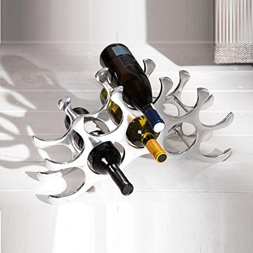 ABSTRAKTES ALU WEINREGAL 'TEN' von Xtradefactory für 10 Weinflaschen 48cm breit silber