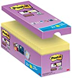Post-it Notes Super Sticky Jaunes 76 x 76 mm - Barquette de 14 Blocs + 2 Offerts