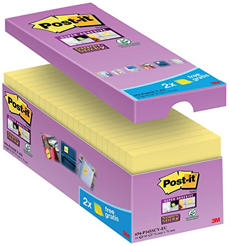 Post-it 65416SYP Haftnotiz Super Sticky Notes Promotion, 76 x 76 mm, 16 Blöcke, 90 Blatt, gelb