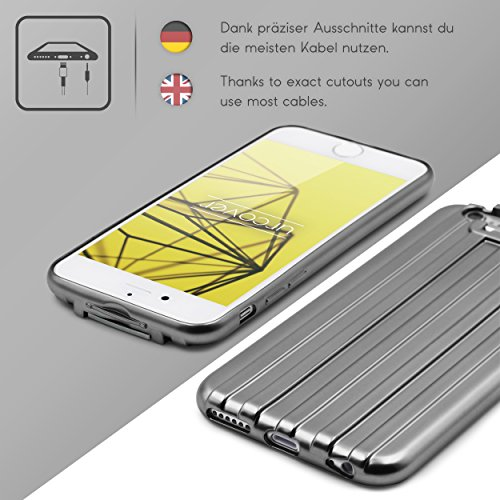 Urcover® Apple iPhone 6 Plus / 6s Plus Handy Schutz-Hülle Metal Optik | Backcase in Champagner Gold Transparent | TPU Cover | Smartphone Zubehör Case Etui Schale Grau