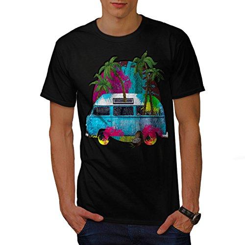 wellcoda Hippie Auto Sommer Mode Männer T-Shirt, Palme Grafikdesign gedruckt Tee -