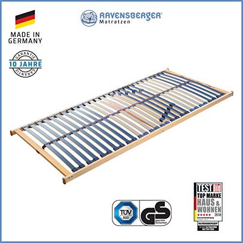 RAVENSBERGER VITA MED 5-Zonen-Schichtholz-Lattenrahmen mit 28 hochelastischen BIRKE-Federholzleisten | Starr | MADE IN GERMANY - 10 JAHRE GARANTIE | TÜV/GS-zertifiziert 100 x 200 cm