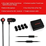 Aiwa Prodigy-1 In-Ear Headphones, Dual Driver, Playback Control, Earphones with Microphone, Tangle Free Earbuds, 3.5mm Flat Cable, Including Premium Leather Case - Black