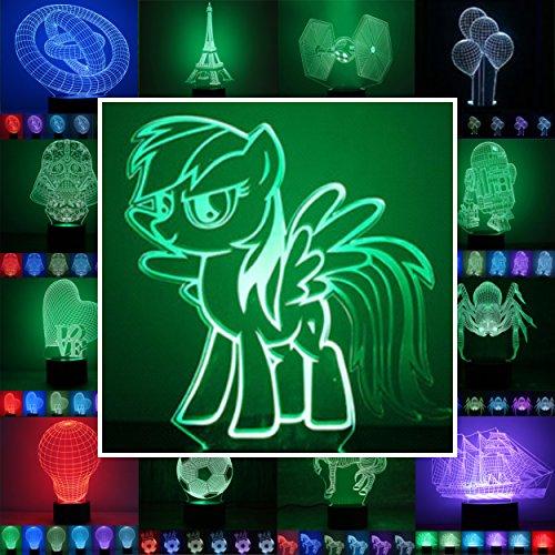 3D LED Stimmungslicht. 7 verschiedene Farben wählbar - Auswahl aus 81 verschiedenen Motiven, hier Rainbow Dash ca.22x15cm inkl.Sockel - 3D Illusion Dekolicht mit USB Anschluß und 220V USB Netzteil (Farbe Rainbow Dash)
