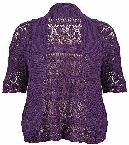 Purple Hanger - Femmes - Cardigan boléro court tricot crochet avant ouvert manches courtes grande taille Pourpre