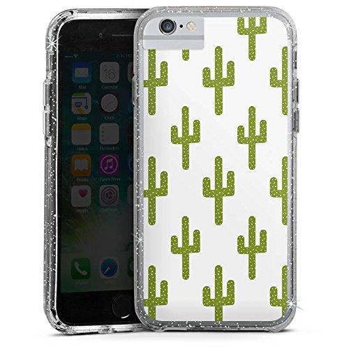 Apple iPhone 8 Bumper Hülle Bumper Case Glitzer Hülle Cactus Kaktus Pattern Bumper Case Glitzer silber