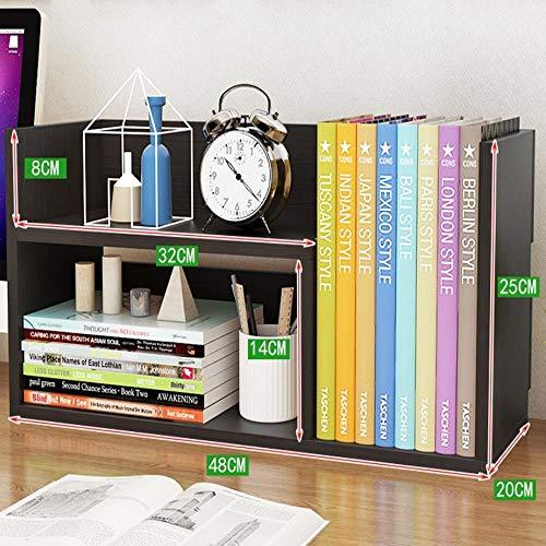 Bücherschrank Schreibtisch (PLNXDM Desktop bücherregal,Multifunktions-Speicher-Anzeigen-Organisator-Gestell-Holztisch-Schreibtisch-Bücherschrank (4colors) D-48 * 25 * 20cm)