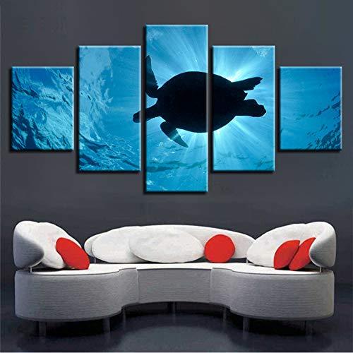 sshssh (Kein Rahmen) Unterwasser Tier Hd Druck Dekor Wohnzimmer Wand 5 Stücke Schildkröte Landschaftsmalerei Modulare Leinwand Bilder Poster Kunst