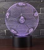 3D Optische Illusions-Lampen Win-Y LED-Schreibtisch Tischlampe 7 Farb-Touch-Lampen-Ausgang Schlafzimmer-Büro-Dekor für Kindergeburtstag Weihnachtsgeschenk (Real Madrid Fußball 2)