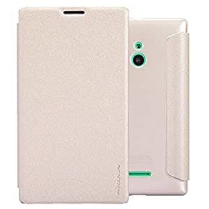 Nillkin Sparkle Leather Flip Stand Bumper Back Case Cover ForNokia XL - Gold