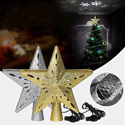 Schneeflockenprojektionslampe, Weihnachtsbaumanhänger, geführte Weihnachtsbaumspitzendekoration, Weihnachtsbaum kleiden oben an@Goldener Schnitt_Europäische Vorschriften