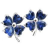 Pendientes de trébol de cuatro hojas con forma de corazón azul SAPPHIRE cúbicos Plata de Ley 925Pendientes para las mujeres