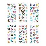 CAOLATOR 6 Blatt Sticker Schmetterling Aufkleber Kinder Mädchen PVC Deko Spielzeug für Stickerbuch Tagebuch Fotoalbum Notizbuch Kalender Dekoration Scrapbooking