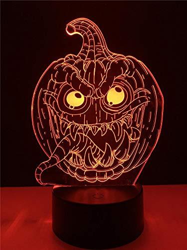 Halloween Trick Kürbis Dämon Zunge 3D USB LED Lampe RGB Lampe Beleuchtung 7 Farben Ändern Stimmung Nachtlicht Spielzeug Dekor Kind, Sieben-Farben-Fernbedienung