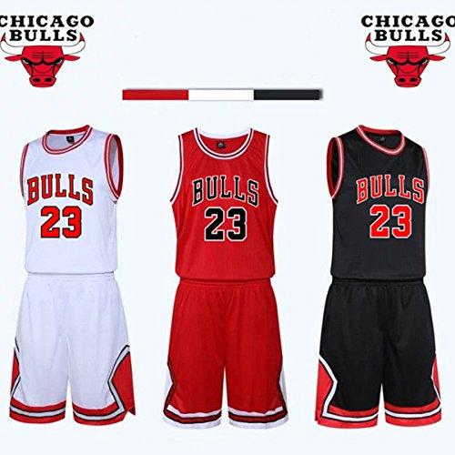 unbrand Ragazzi Uomo NBA Michael Jordan # 23 Chicago Bulls Retro Pantaloncini da Basket Suer Jerseys Basket Maglie Uniforme Top e Shorts