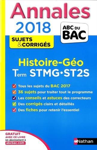 Histoire-géo terminale STMG, ST2S : annales 2018