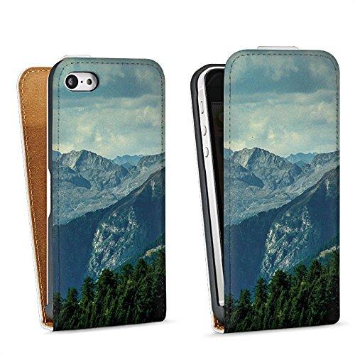 Apple iPhone 4 Housse Étui Silicone Coque Protection Paysage alpin Montagne Chaîne de collines Sac Downflip blanc