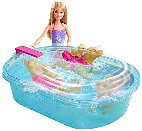 Mattel Barbie DMC32 Barbie Die Große Hundesuche Schwimmendes Hündchen & Pool, inkl. Puppe