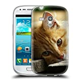 Just Phone Cases Schutz Hülle TPU Case Schutzhülle Silikon Tasche Dünn Transparent // V00004287 Katze liegend auf Holzbrettern // Samsung Galaxy S3 MINI i8190