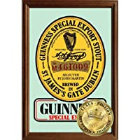 Empire Merchandising 610942, Guiness Special Export Beer, Specchio decorato con cornice in vero legno, 22 x 32 x 1,2 cm, Multicolore